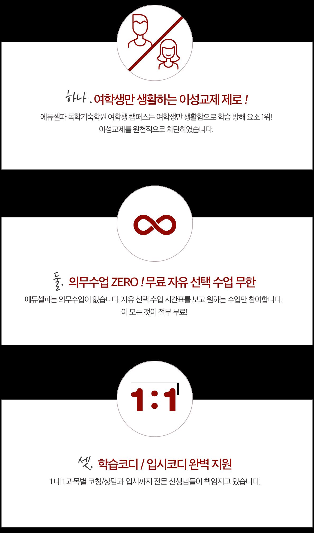 에듀셀파 여학생 독학기숙학원 특징